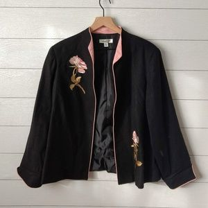 Coldwater Creek Embroidered Rose Open Front Jacket